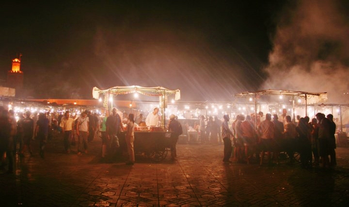 marrakech jemaa el fna, night, food market, UNESCO World heritage site