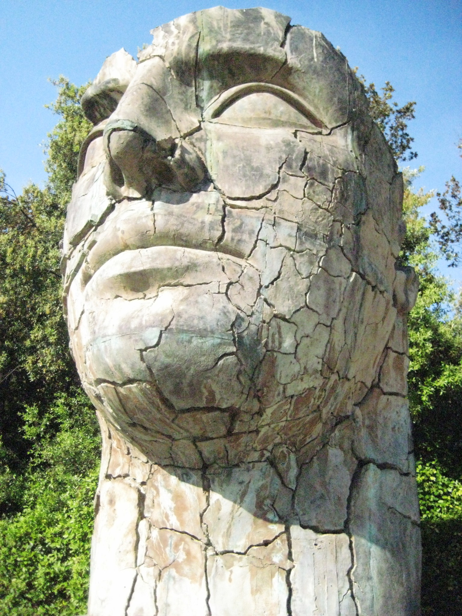 "Igor Mitoraj's ""Tyndareus Cracked"" (1998) is the only modern sculpture in the garden"