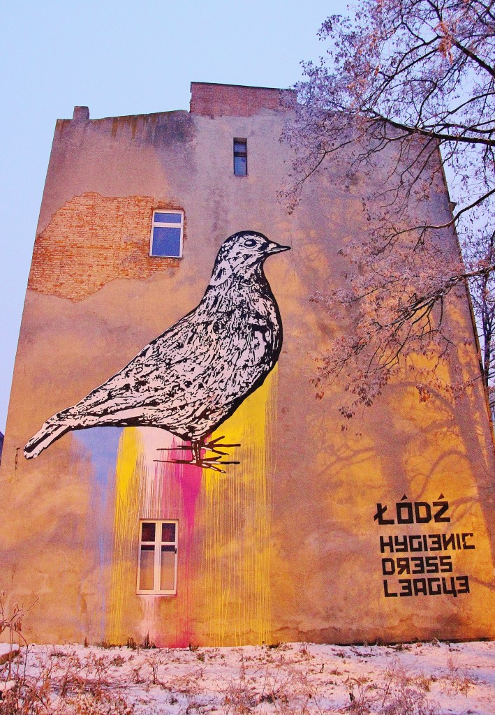 Hygienic Dress League, street art, graffiti, Lodz, Poland, big bird
