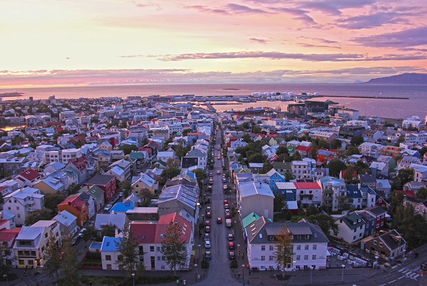 The colourful city of Reykjavik at sunset