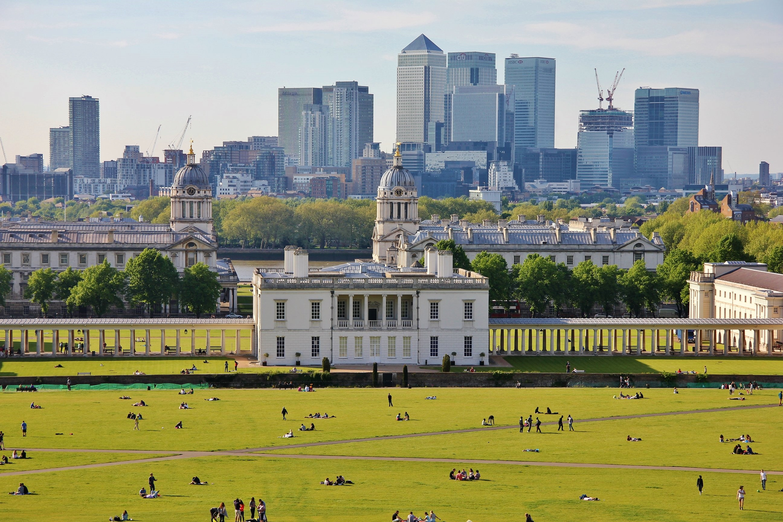 Panoramic view of London from Greenwich Park