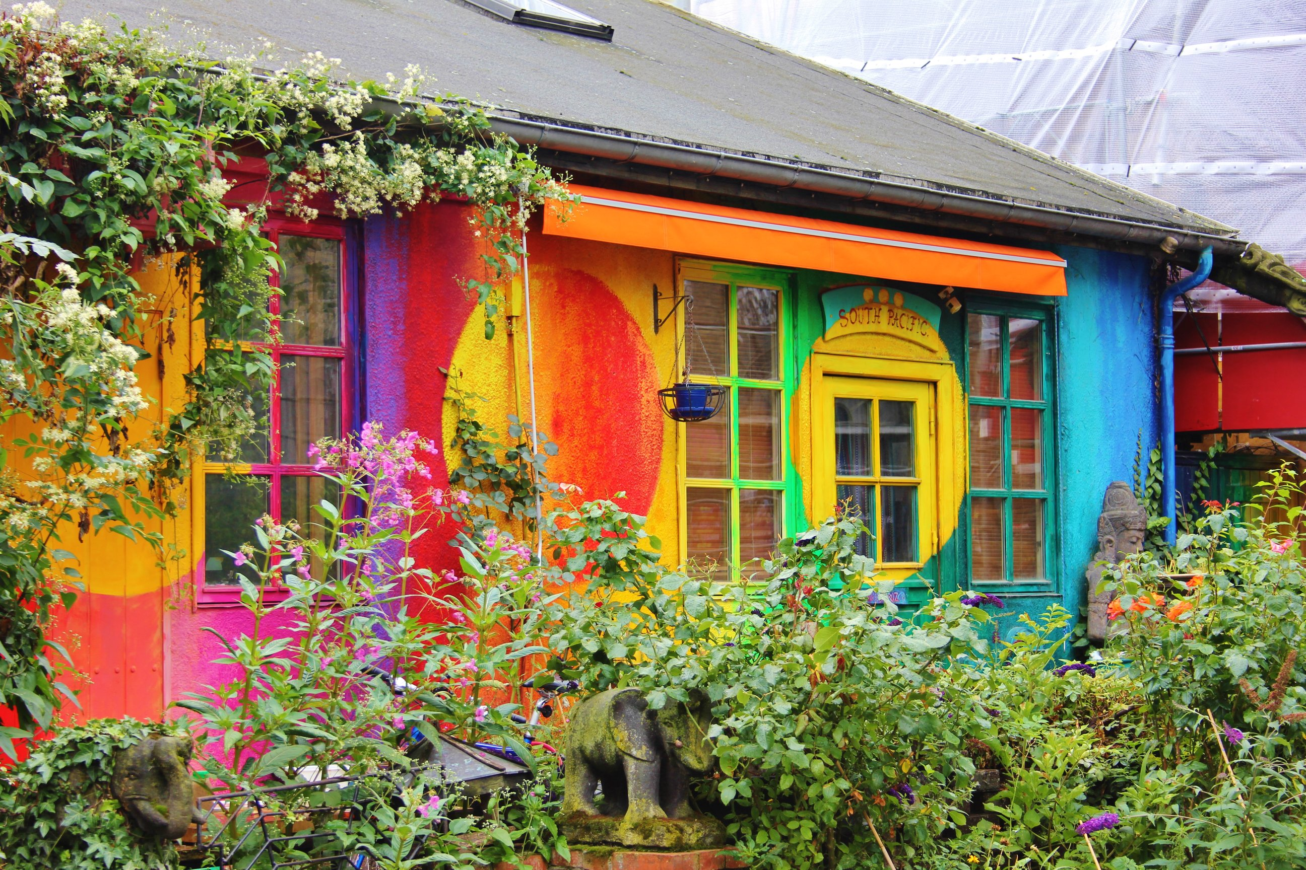 Brightly painted houses in Freetown Christiania, Copenhagen