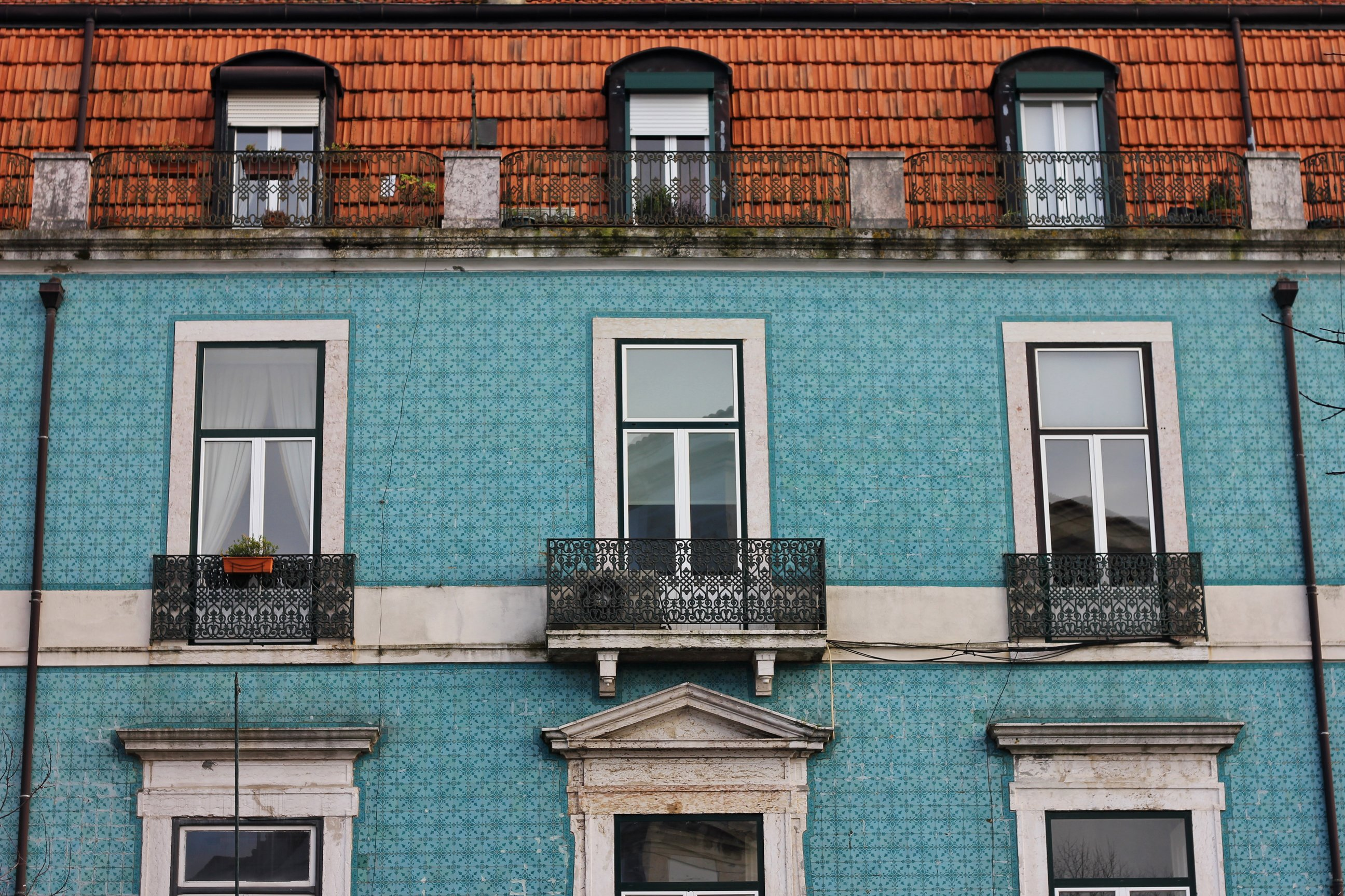 Azulejo buildings in Lisbon, Portugal