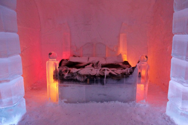Honeymoon suite in the ice hotel, Norway, Lapland