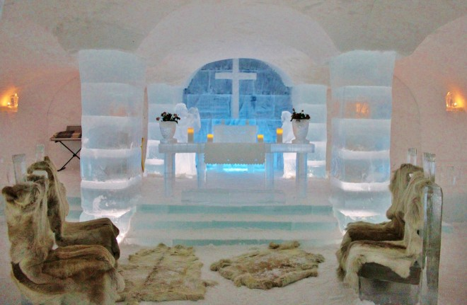 The Ice Chapel inside the Igloo Hotel in Alta