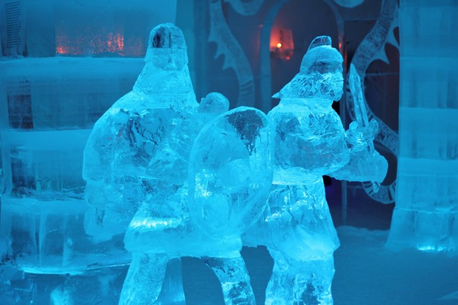 Ice sculptures at the Igloo Hotel in Alta