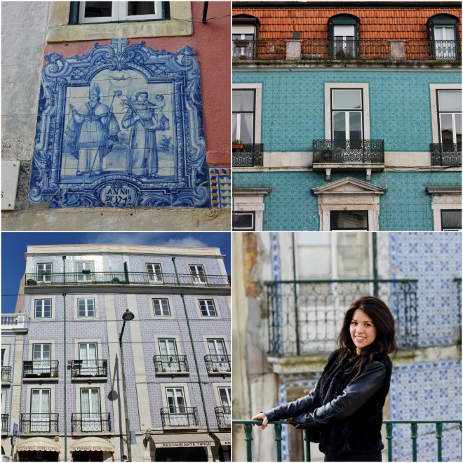 Tiled buildings in Lisbon, Portugal