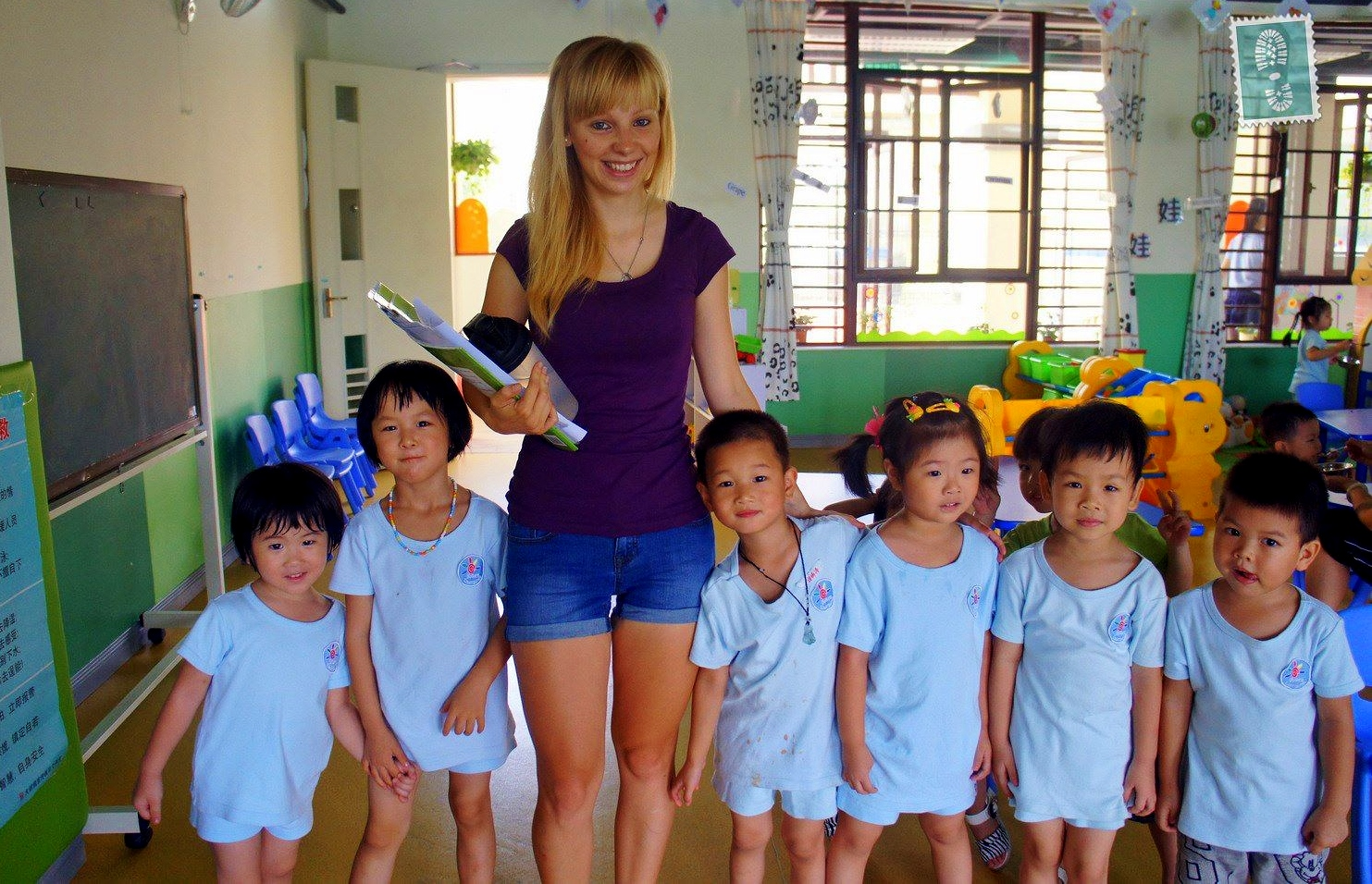 kindergarten students in Dongguan, China