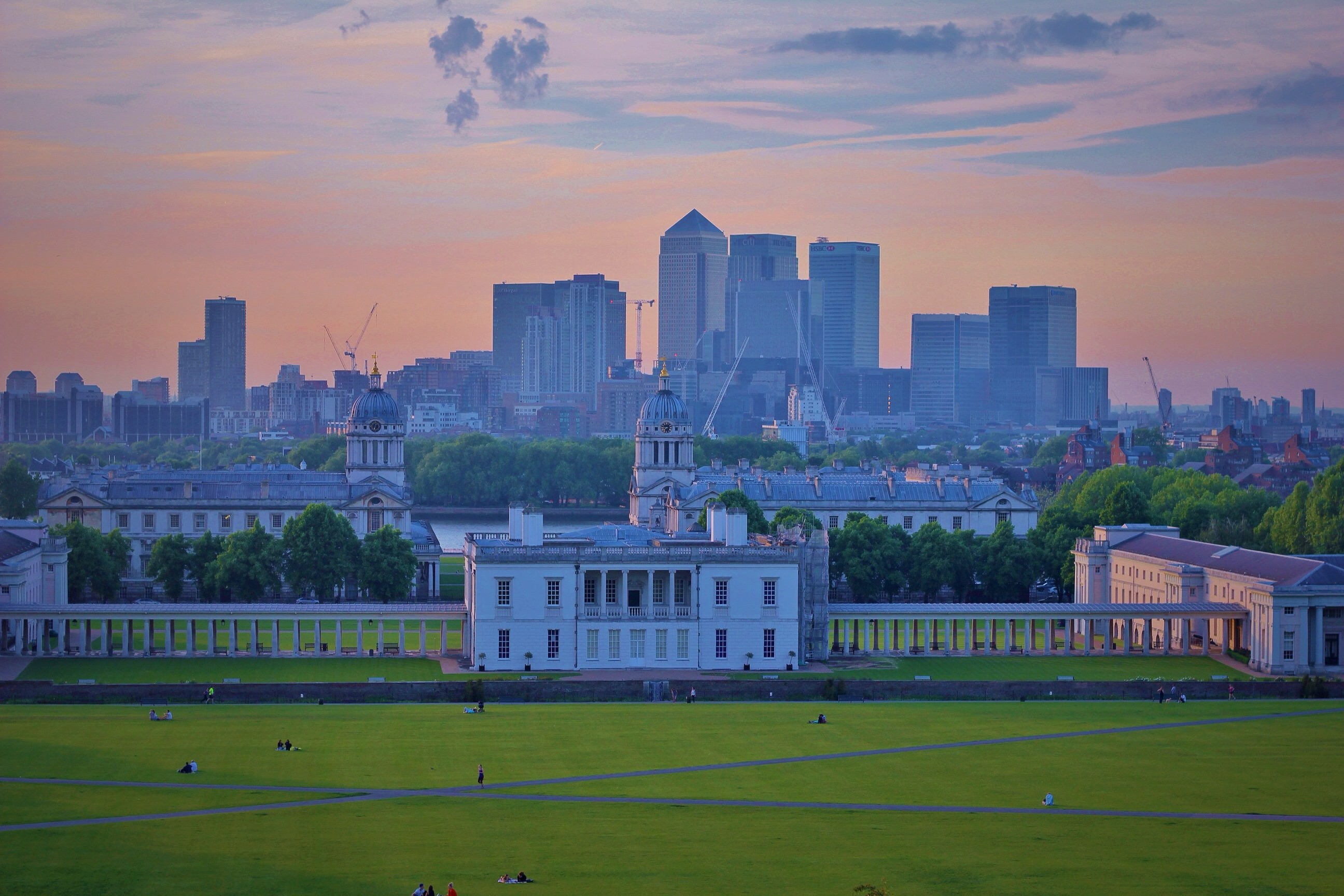 London sunset, Greenwich Park