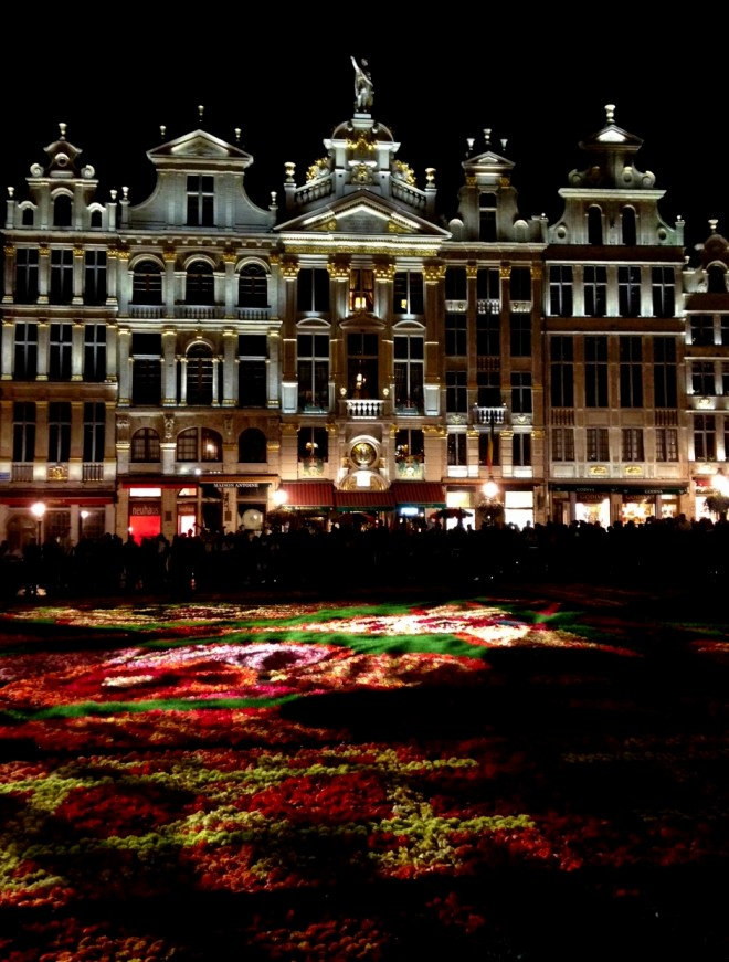 The Grand Place at night with Flower Carpet