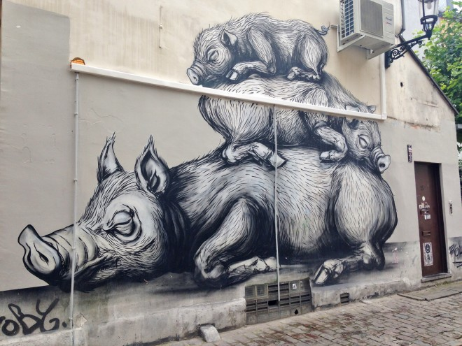 ROA Street art, Brussels, pigs
