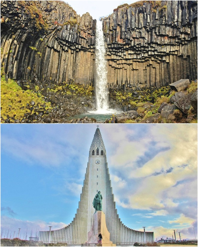 Hallsgrimskirkja Church and Svartifoss waterfall