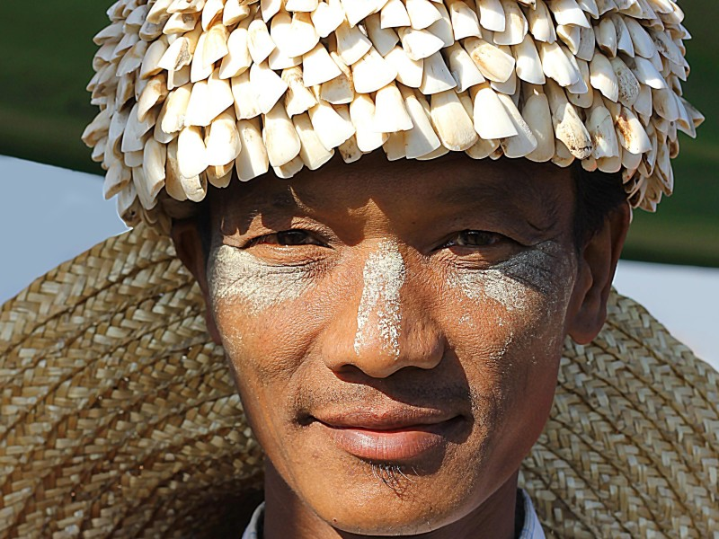 Burmese man wearing Thanaka