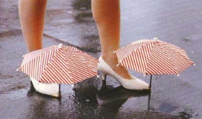 Chindogu umbrella shoes