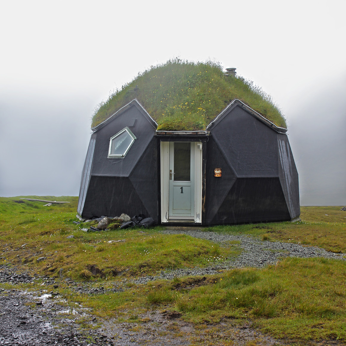 Eco home with turf roof in Faroe Islands