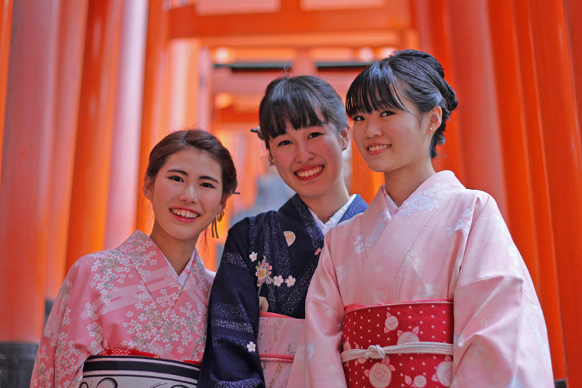 Beautiful Japanese girls in Kyoto