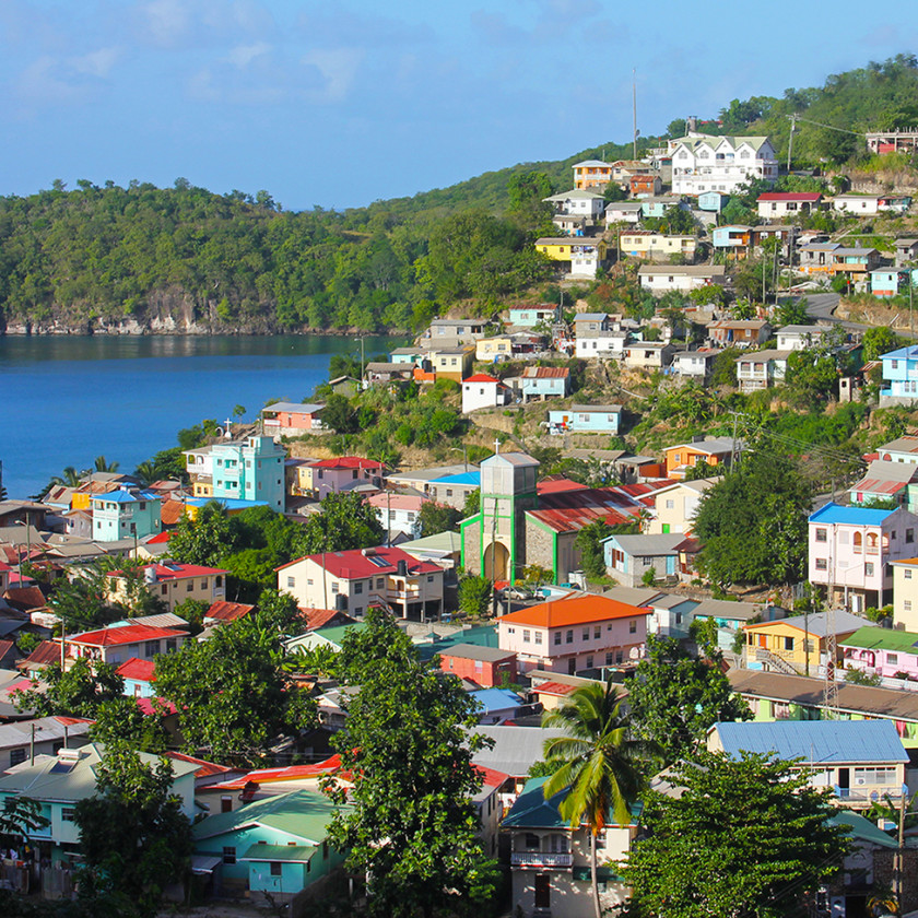 Colourful town of Canaries in St Lucia