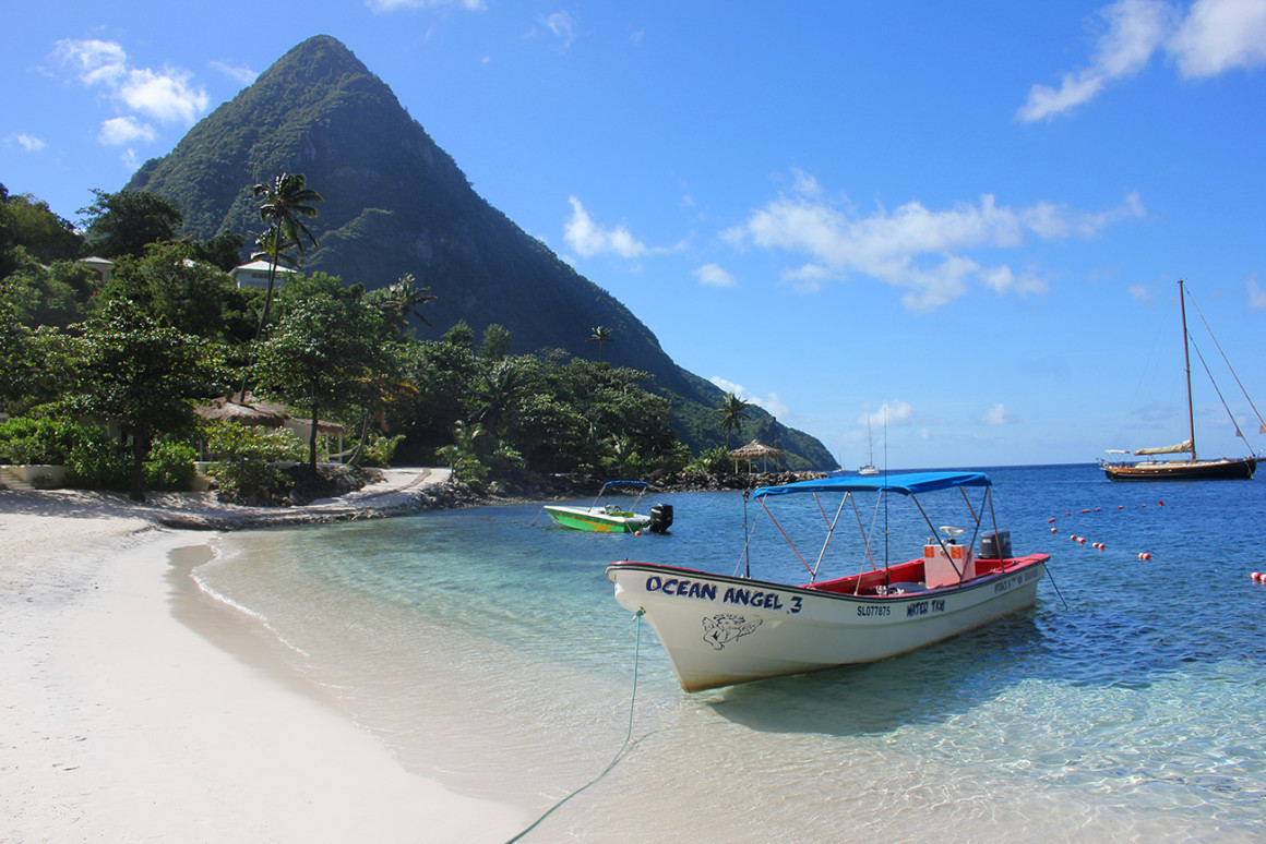 Sugar Beach in St Lucia with smaller Piton in the background