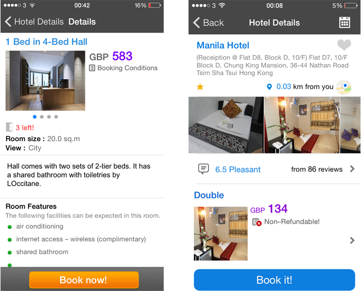 Hotel prices in Hong Kong