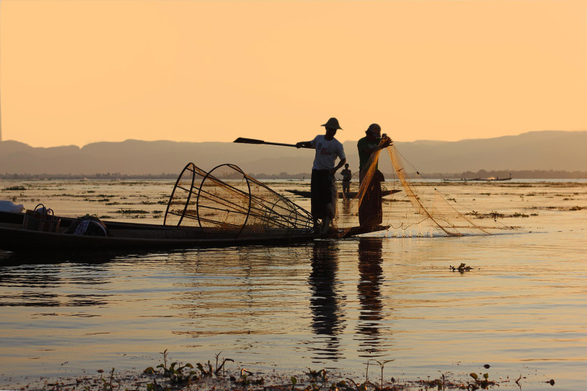 Travel to Myanmar, fishermen at Inle Lake.