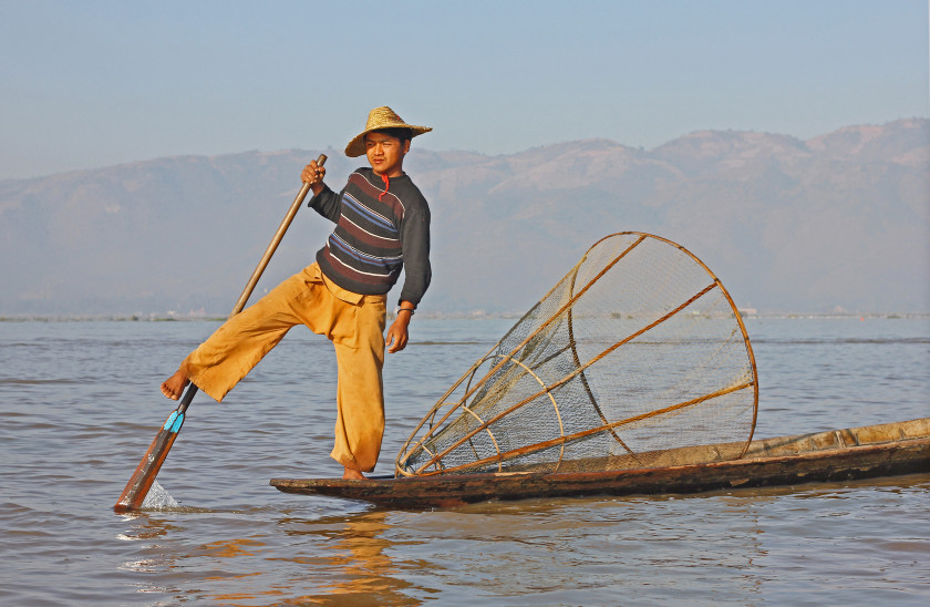 Leg-rowing fishermen in Inle Lake, travelling in Myanmar.