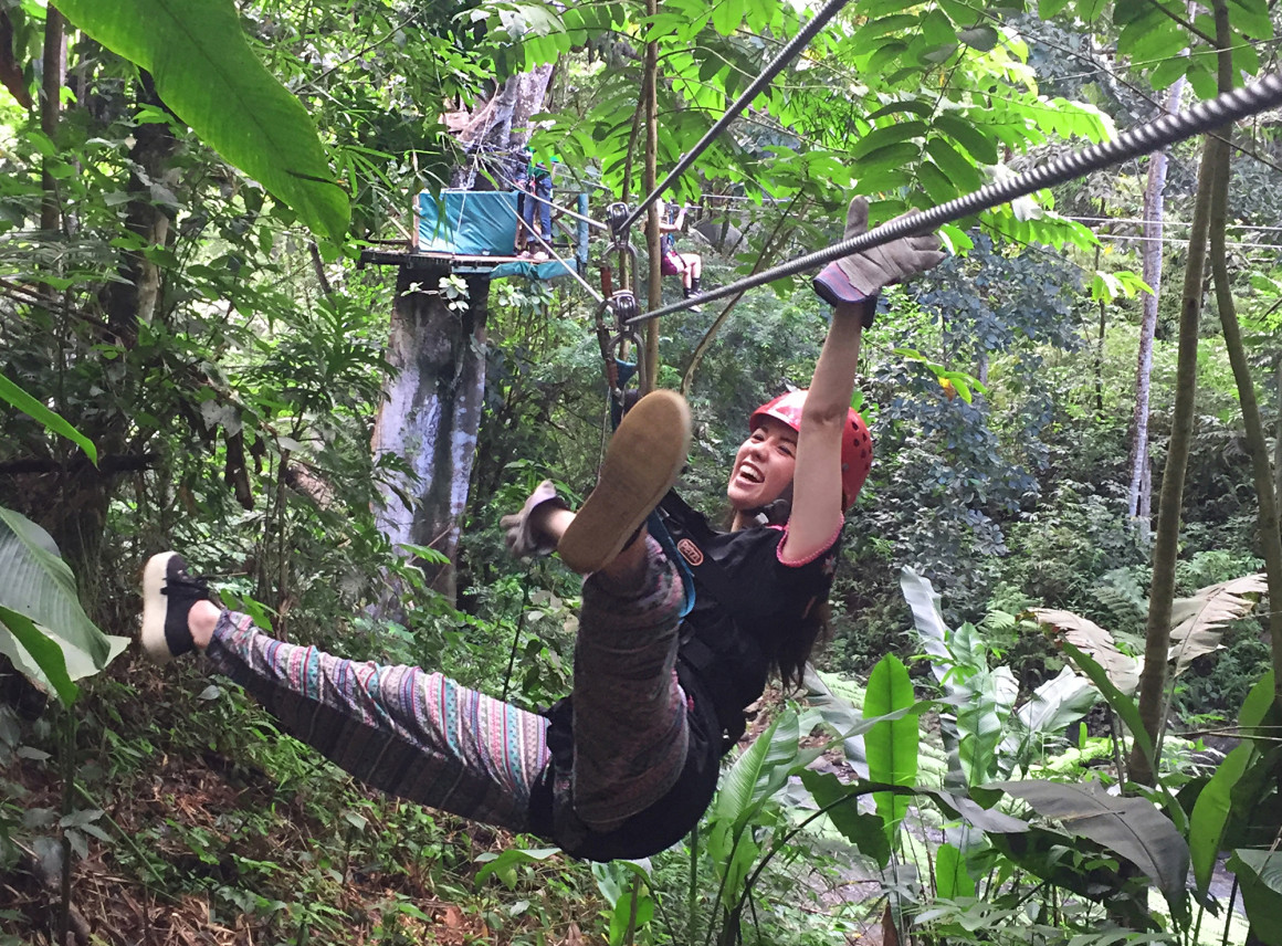 Zip Lining through the rain forest in St Lucia