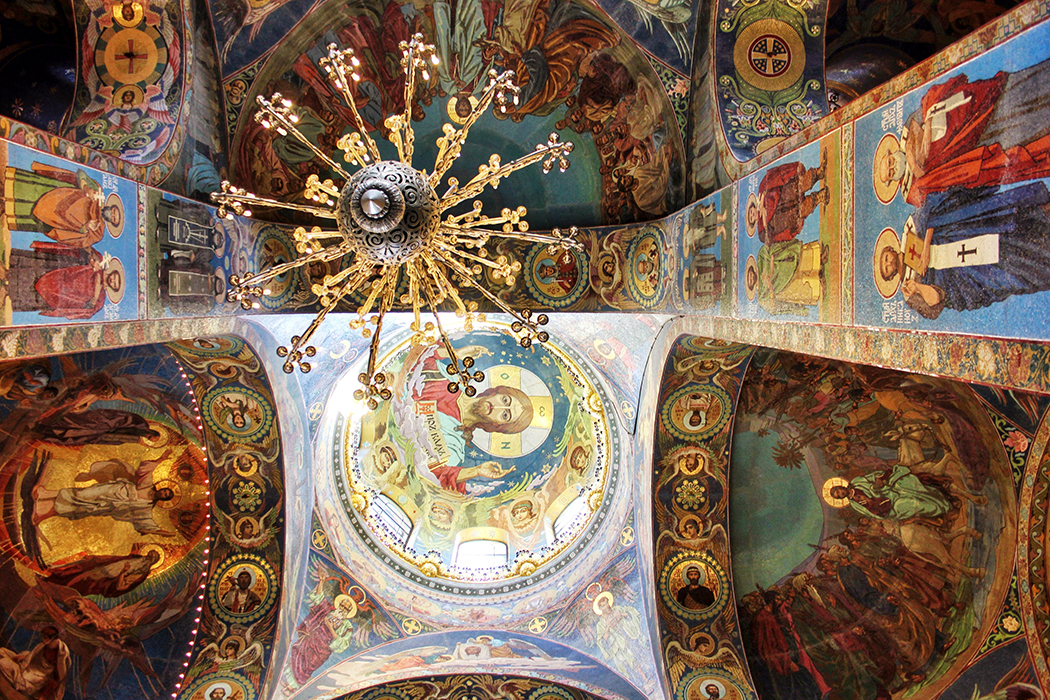Church of out Saviour on Spilled Blood - explore the interior cladding in gold mosaics