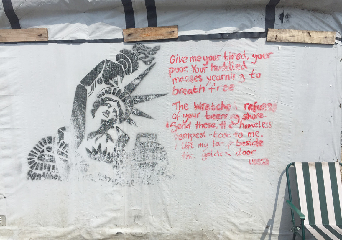 Inside the Calais refugee camp known as the jungle you will find political messages scrawled across the make-shift accommodation