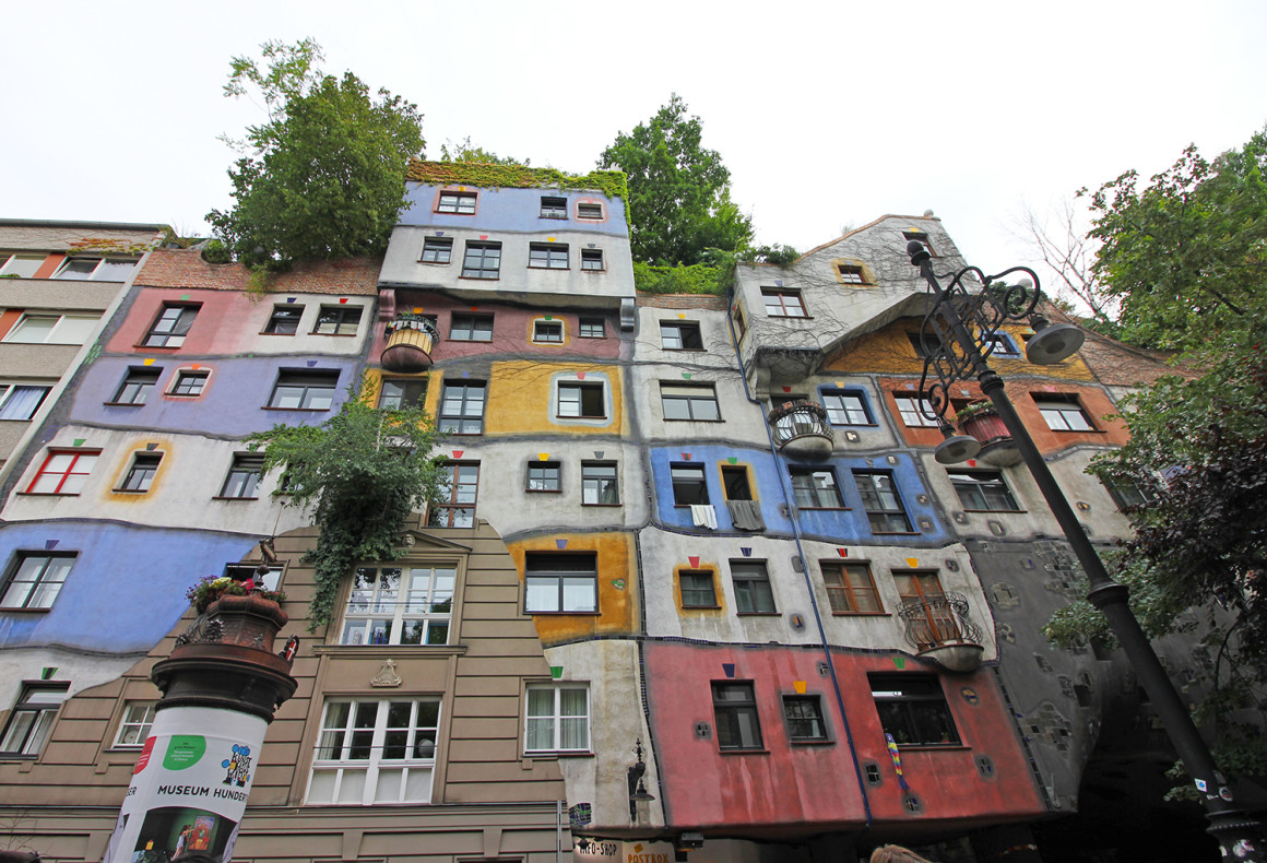 The colourful Hundertwasserhaus in Vienna. A blog about getting the train between Budapest - Bratislava - Vienna