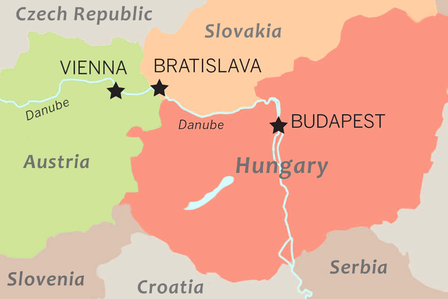 A train map of the journey between Budapest, Bratislava and Vienna