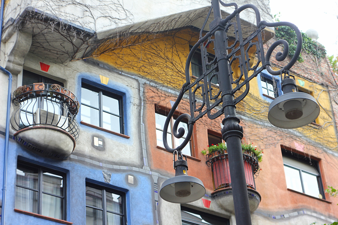 Colourful facade of Hundertwasser House in Vienna, Austria
