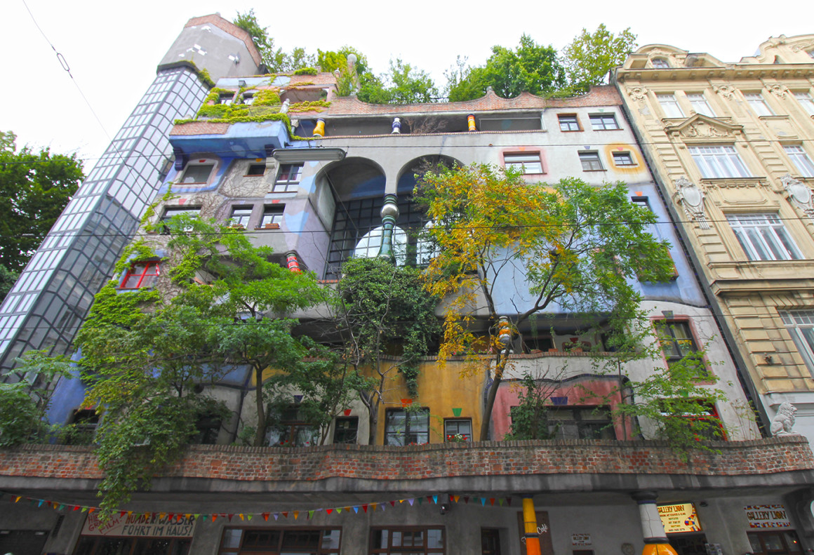 Trees growing out from Hundertwasserhaus in Vienna