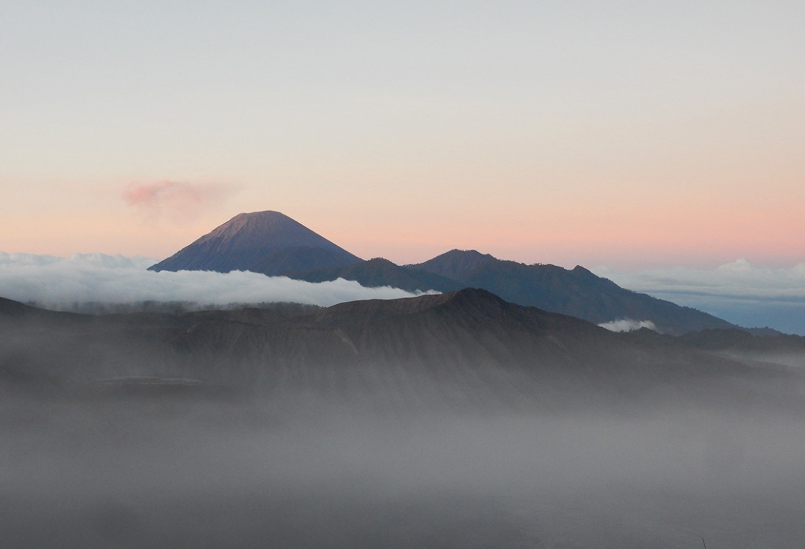 Clouds passing slowly across Mount Bromo, Indonesia
