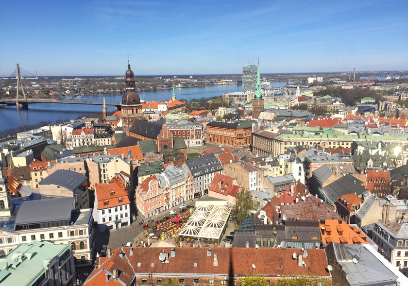 Panoramic view of Riga from St Peter's Church