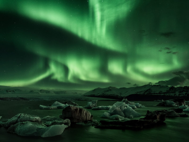 Northern Lights above Jokulsarlon Glacier Lagoon in Iceland - Interview with Ed Norton Lonely Planet Travel Photographer