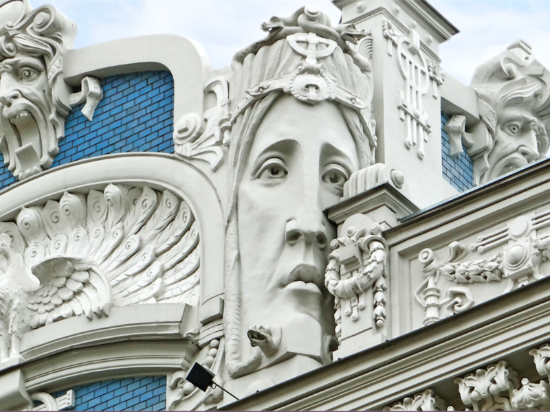 Art Nouveau architecture located on Elizabetes Street in Riga
